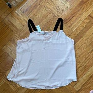 Blush tank top blouse with black velvet straps